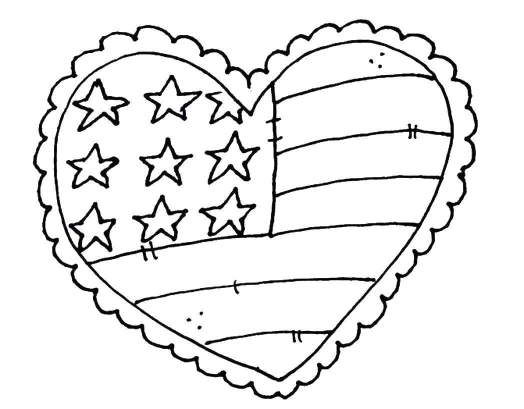 Раскраска Американский флаг в форме сердца Скачать США, Америка, флаг.  Распечатать ,США,