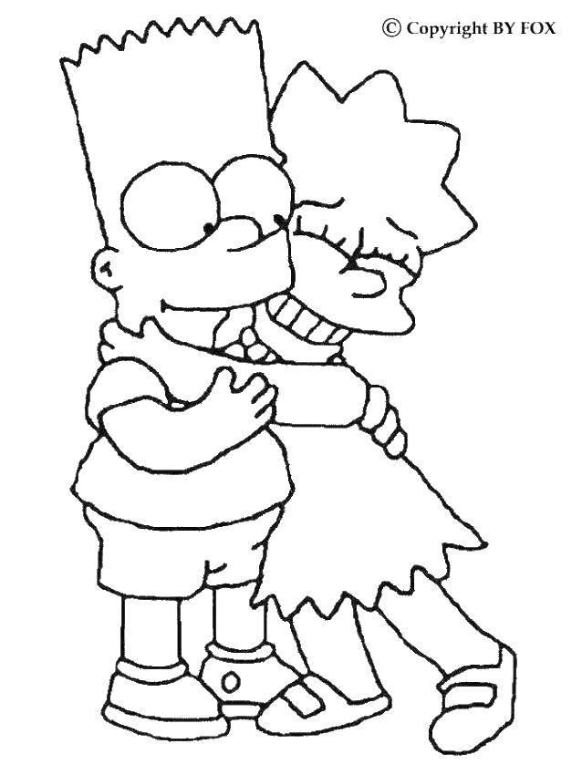 Раскраска Барт и лиза. Скачать симпсоны, барт, лиза, мультфильмы.  Распечатать ,Симпсоны,