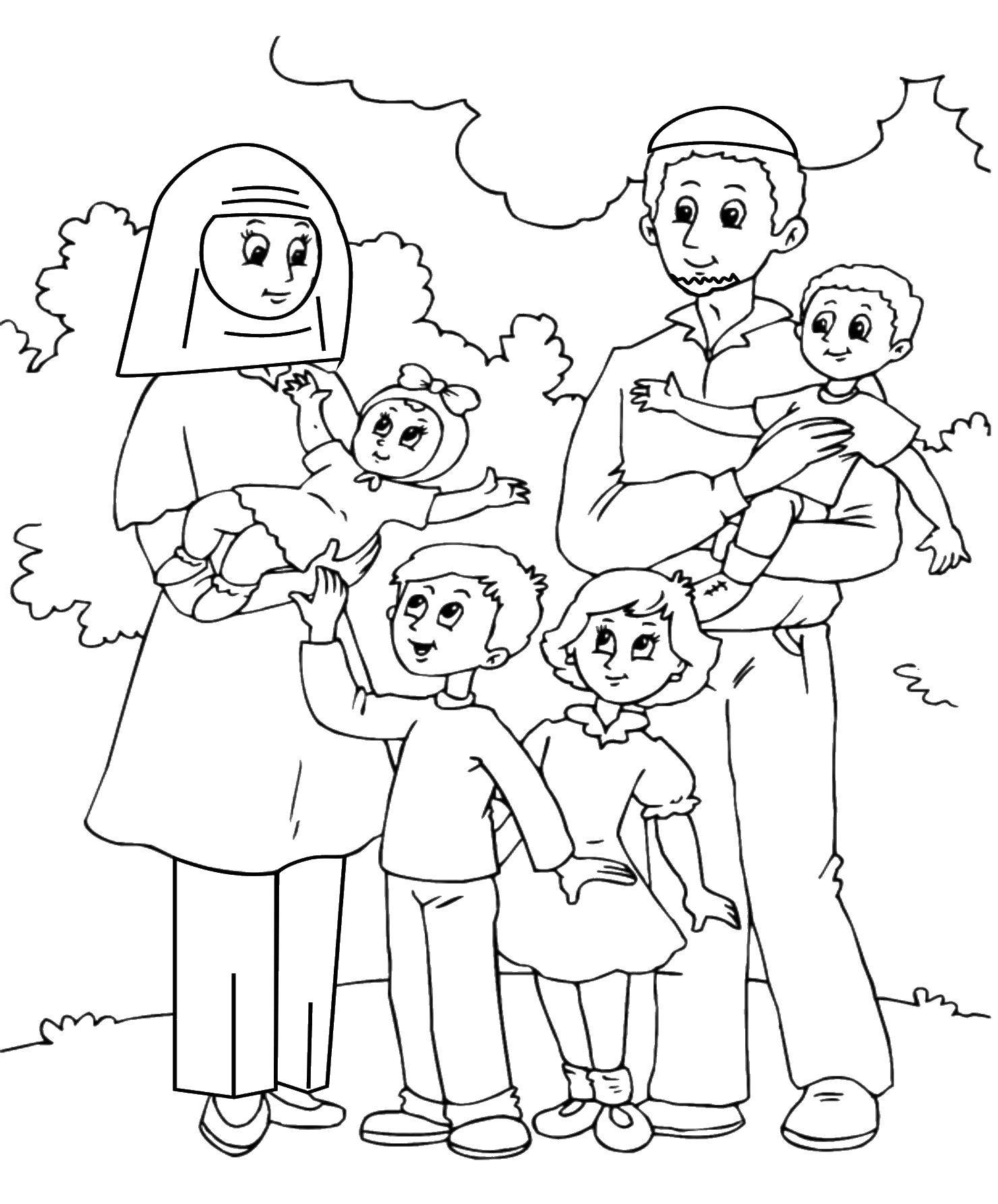 Раскраска Большая многодетная семья Скачать семья, семьи, дети.  Распечатать ,Члены семьи,