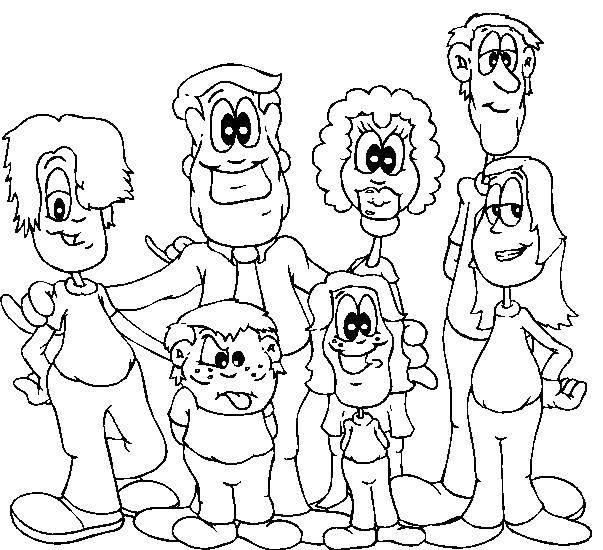 Раскраска Члены большой семьи Скачать Семья, родители, дети.  Распечатать ,Семейное дерево,