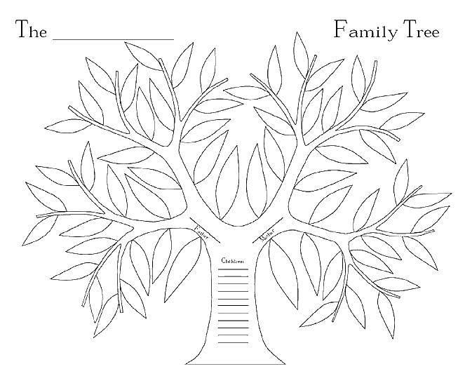 Раскраска Деревце и листва Скачать деревья, листва, листья.  Распечатать ,Семейное дерево,