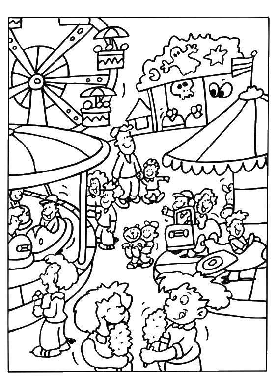 Раскраска Детки в парке развлечений. Скачать парк развлечений, парки, дети.  Распечатать ,раскраски,