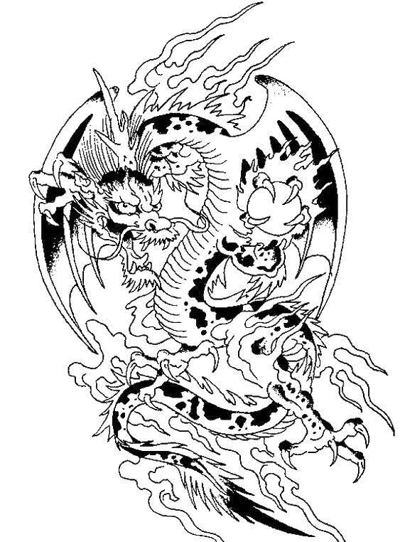 Раскраска Дракон в китае Скачать драконы, китай.  Распечатать ,Драконы,