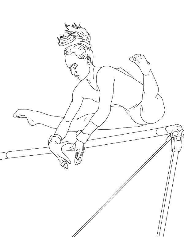 Раскраска Гимнастика на брусьях Скачать гимнастика, гимнастка, спорт.  Распечатать ,гимнастика,