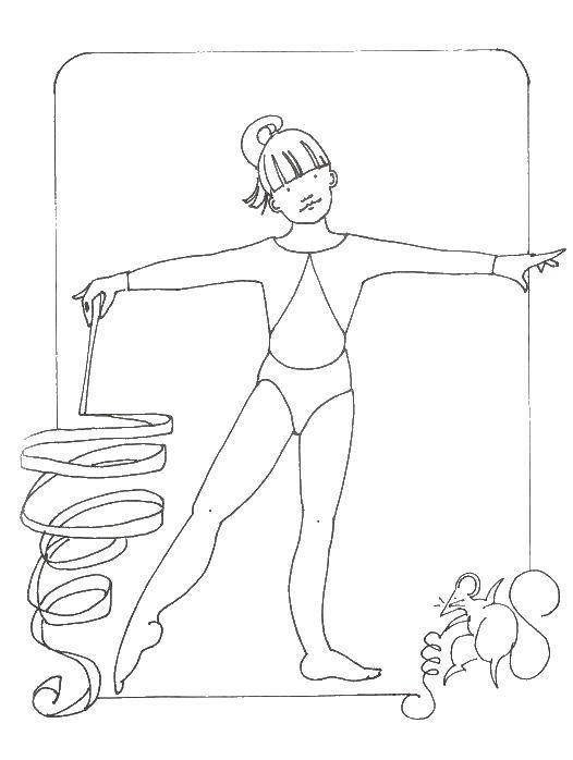 Раскраска Гимнастика с лентой Скачать гимнастика, гимнастка, спорт.  Распечатать ,гимнастика,