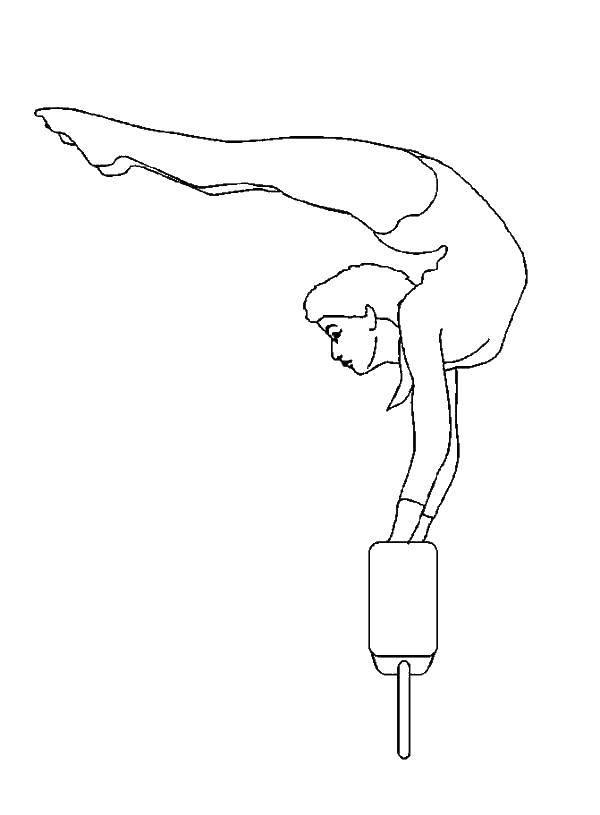 Раскраска Гимнастка на бревне. Скачать гимнастика, гимнастка, спорт.  Распечатать ,гимнастика,