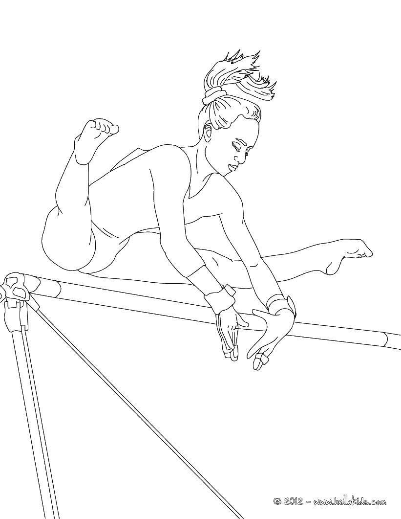 Раскраска Гимнастка на брусьях Скачать гимнастика, гимнастка, спорт.  Распечатать ,гимнастика,