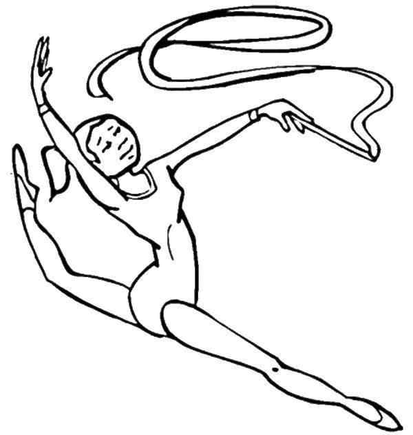 Раскраска Гимнастка с лентой Скачать спорт, гимнастика.  Распечатать ,гимнастика,