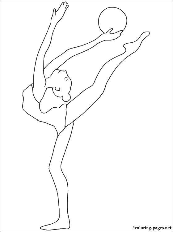 Раскраска Гимнастка с мячом. Скачать гимнастика, гимнастка, мяч.  Распечатать ,гимнастика,
