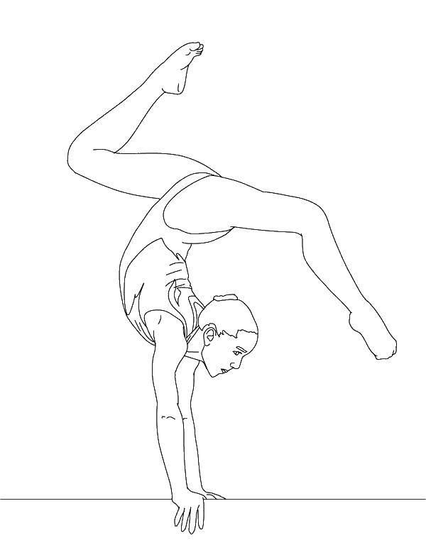 Раскраска Гимнастка стоит на руках. Скачать гимнастика, гимнастка.  Распечатать ,гимнастика,