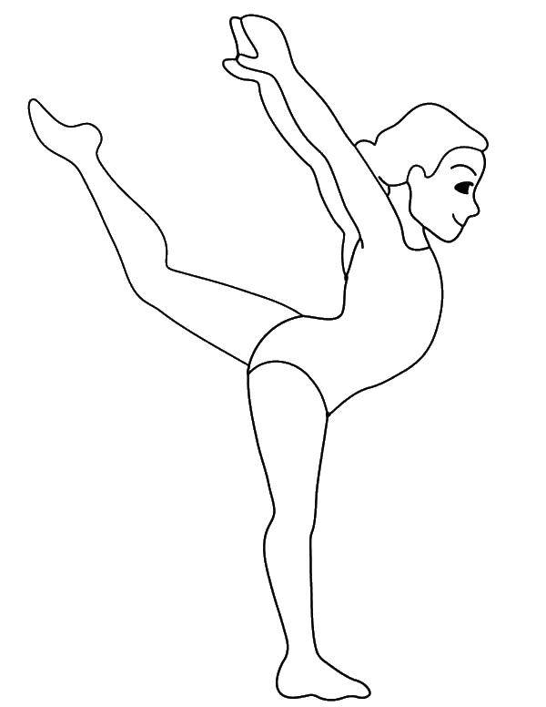 Раскраска Гимнастка танцует Скачать Спорт, гимнастика.  Распечатать ,гимнастика,