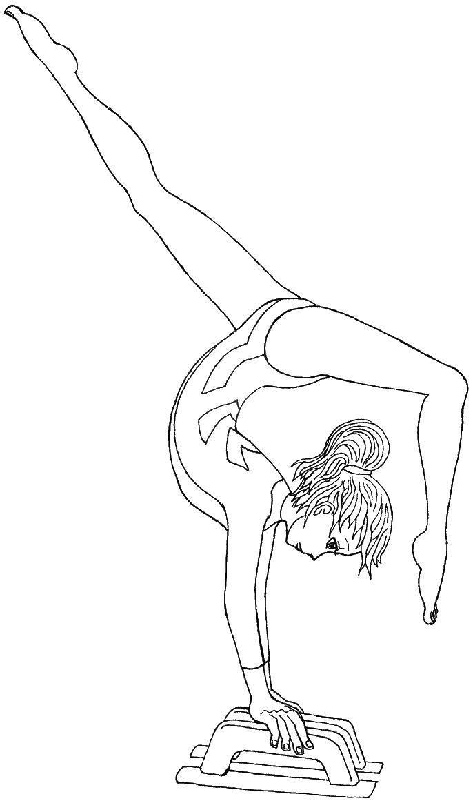 Раскраска Гимнастка упражняется Скачать гимнастика, гимнастка, спорт.  Распечатать ,гимнастика,
