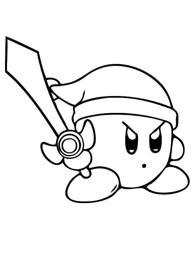 Раскраска Кирби с мечом Скачать кирби, мультики.  Распечатать ,Кирби,