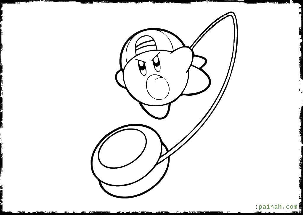 Раскраска Кирби с йо йо Скачать Игры.  Распечатать ,Кирби,