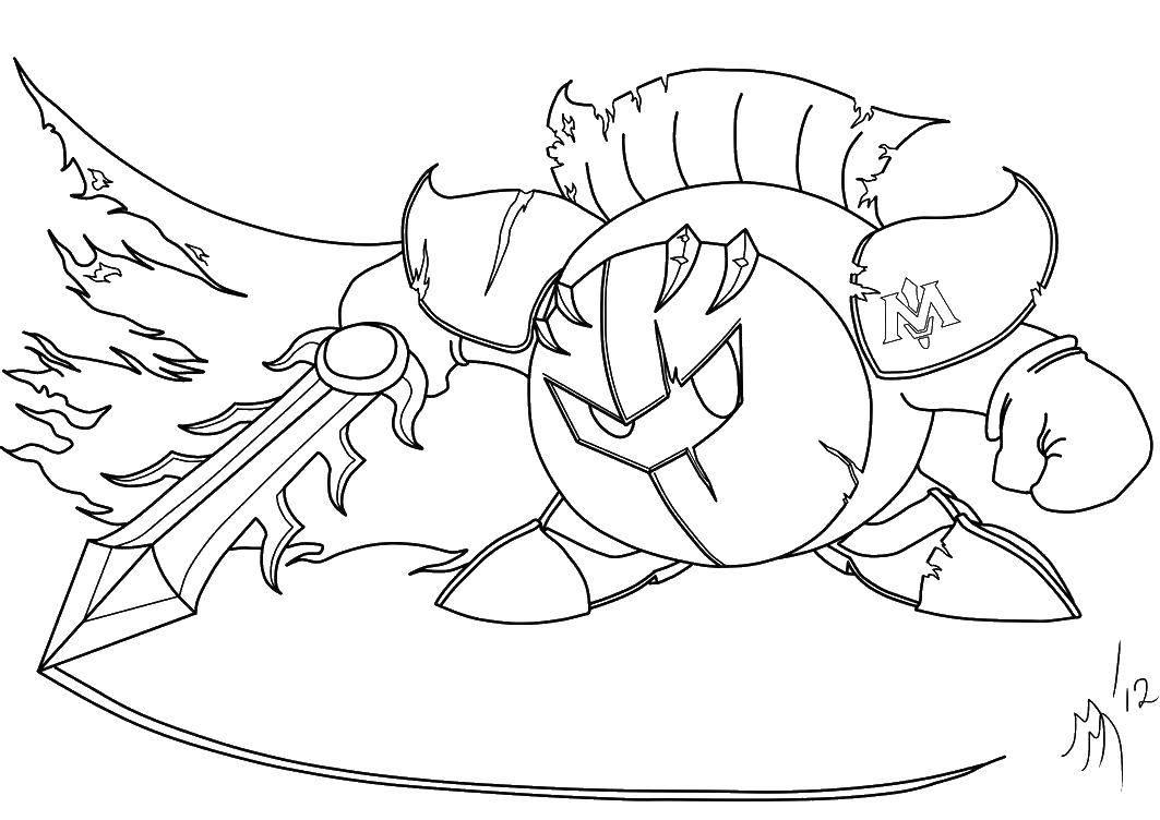 Раскраска Кирби в доспехах Скачать Игры.  Распечатать ,Кирби,