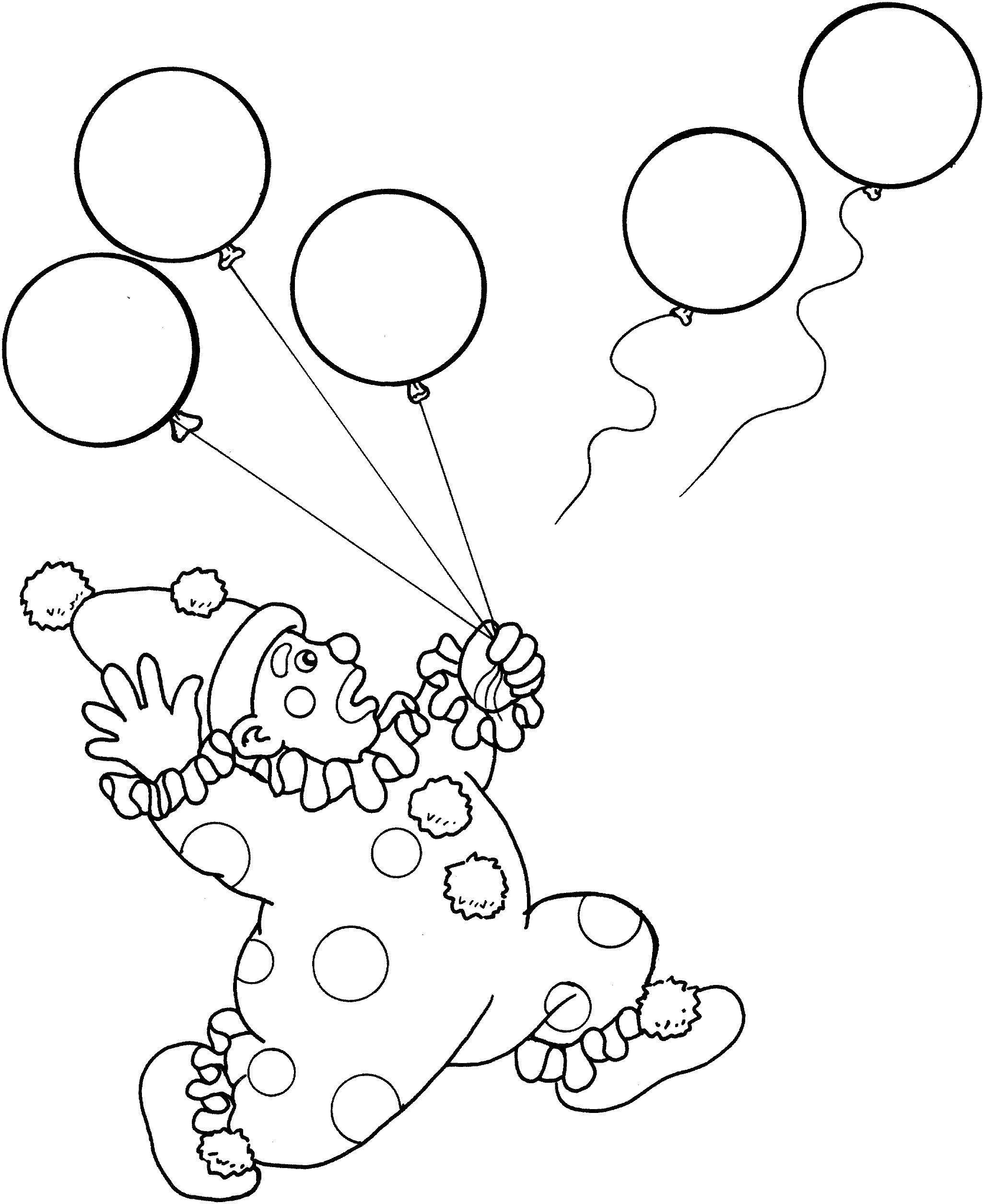 Раскраска Клоун и шарики Скачать клоуны, шарики.  Распечатать ,Клоуны,