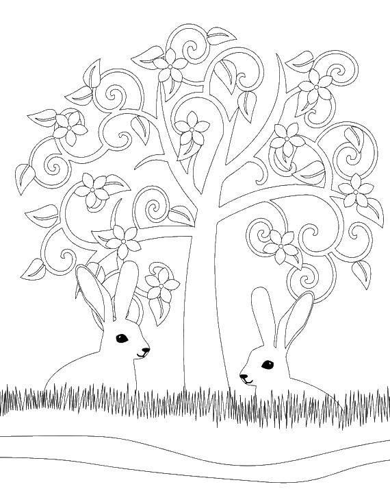 Раскраска Кролики под деревом. Скачать животные, зайки, деревце, узоры.  Распечатать ,Животные,