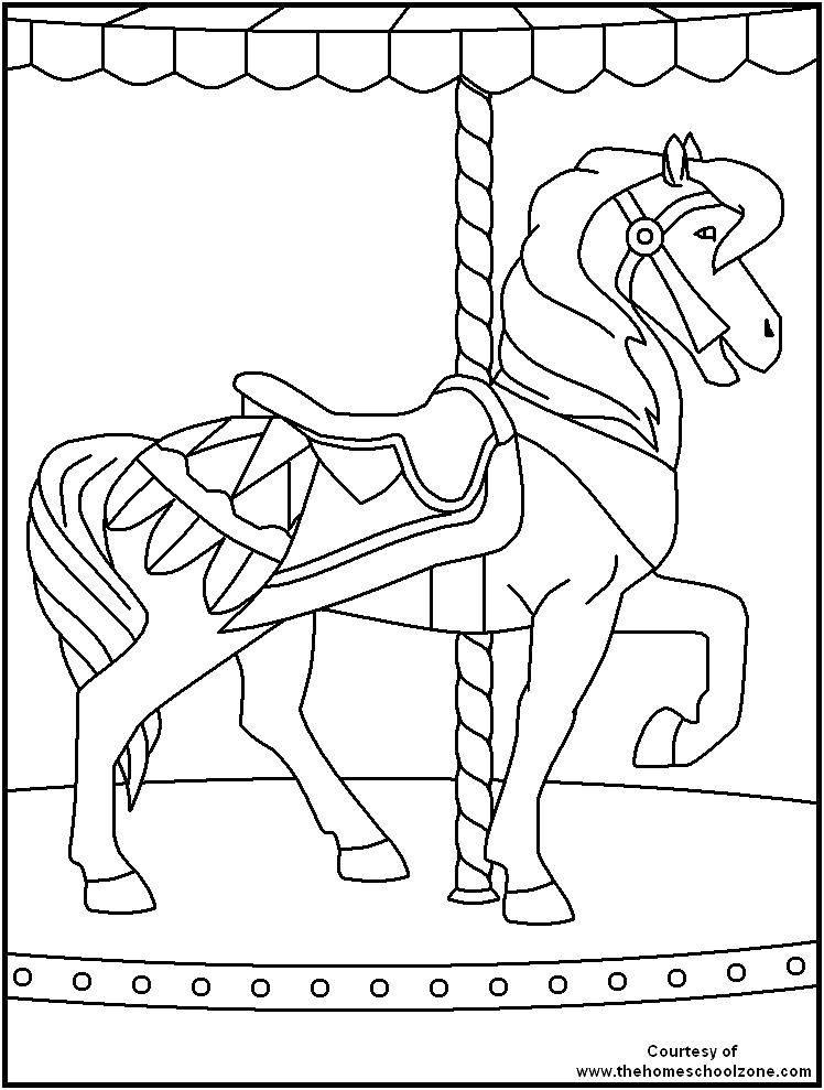 Раскраска Лошадка атракцион Скачать лошадка, атракцион.  Распечатать ,лошади,