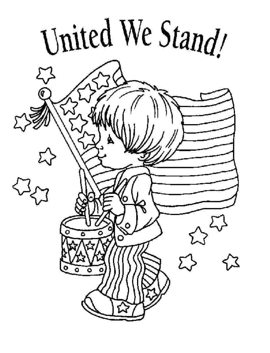 Раскраска Мальчик на фоне флага Скачать флаг, США, Америка.  Распечатать ,Флаги,