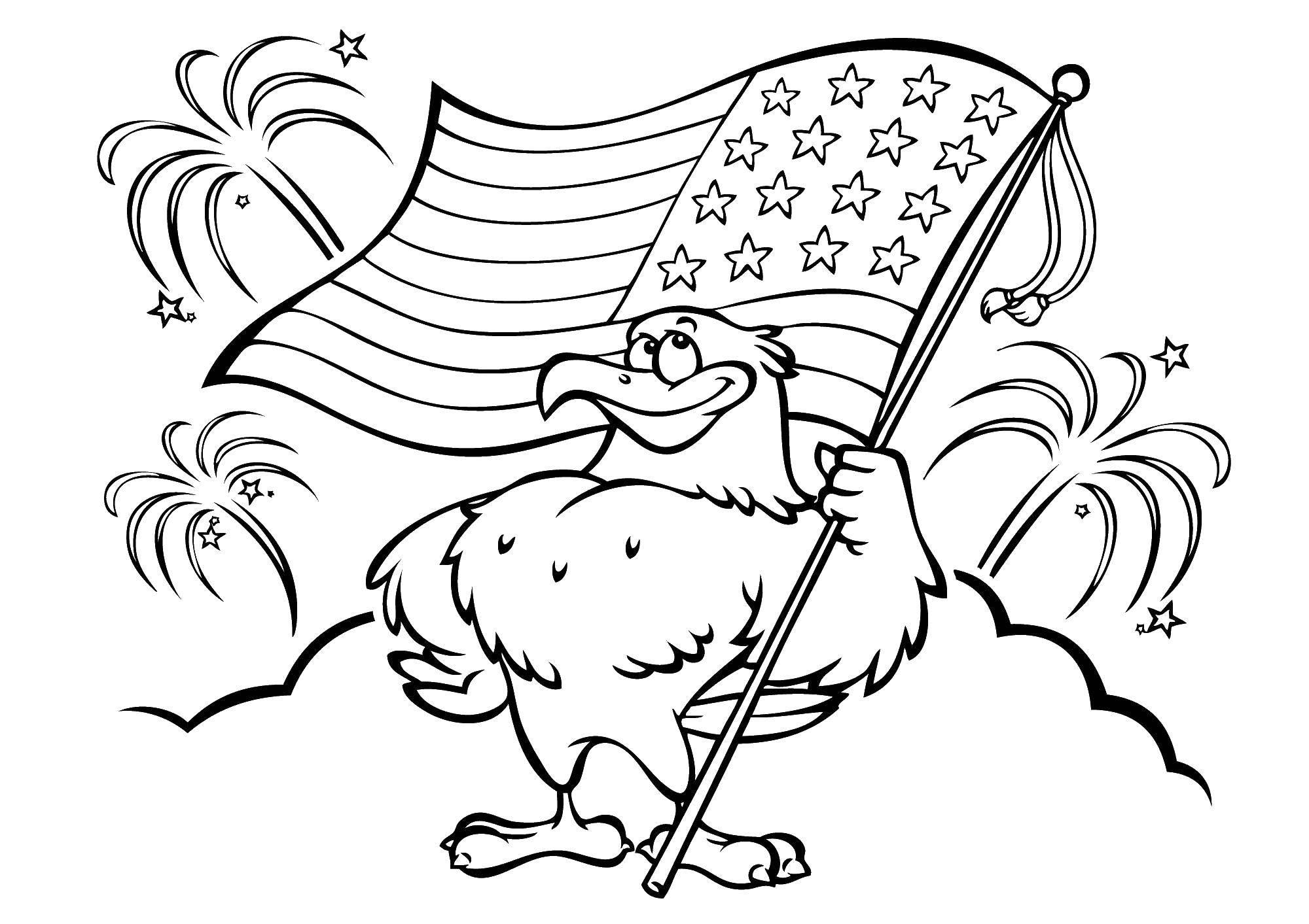 Раскраска Орел с флагом америки Скачать США, Америка, флаг.  Распечатать ,США,