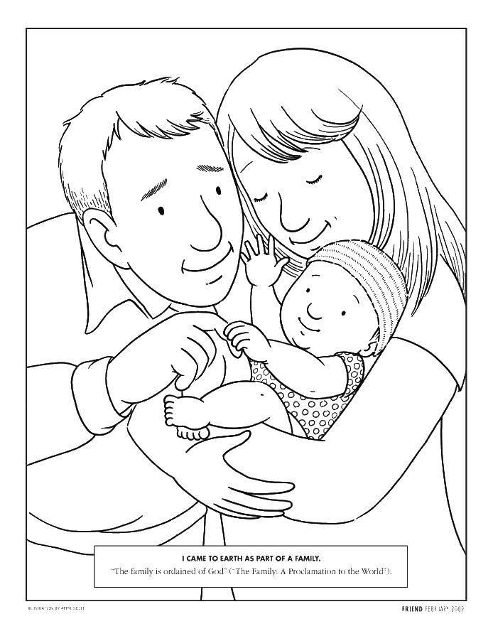Раскраска Родители и новорожденный. Скачать семья, дети, родители.  Распечатать ,Семья,