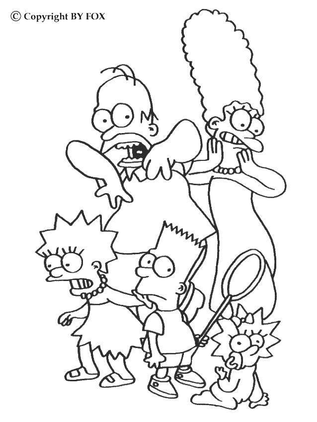 Раскраска Семейка симпсонов Скачать Семья, родители, дети.  Распечатать ,Члены семьи,