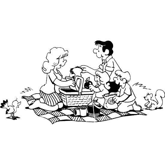 Раскраска Семейный пикник Скачать семья, пикник.  Распечатать ,Семья,