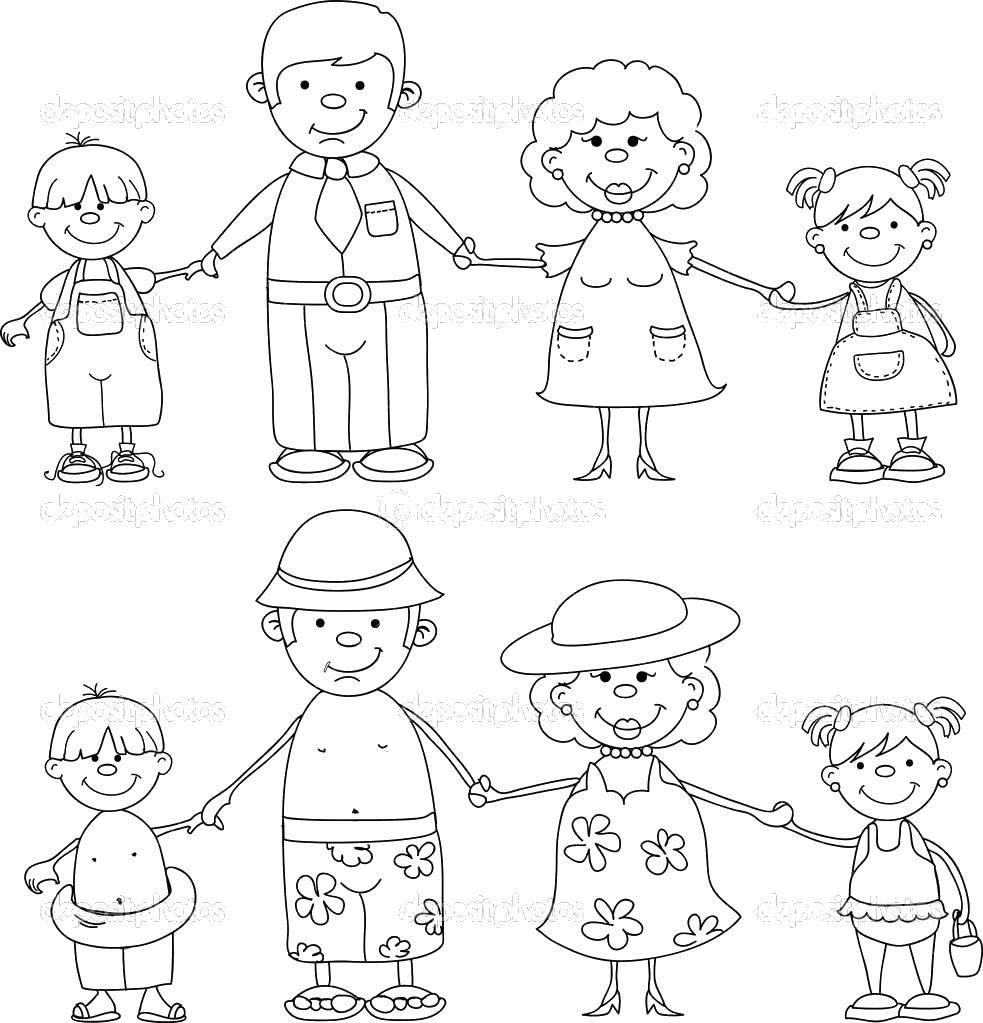 Раскраска Семья на летнем отдыхе Скачать Семья, родители, дети.  Распечатать ,Члены семьи,