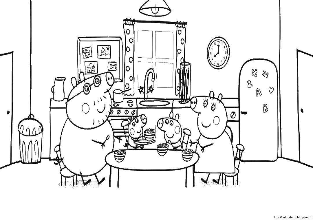 Раскраска Семья пеппи. Скачать свинка пеппа, мультфильмы, семья.  Распечатать ,Свинка Пеппа,