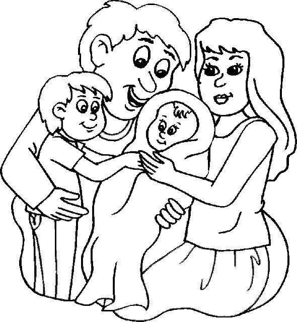 Раскраска Семья с двумя детьми. Скачать семья, дети, родители.  Распечатать ,Семья,