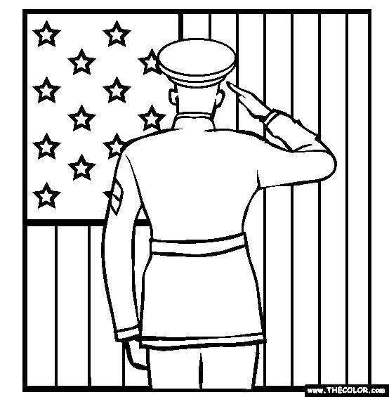 Название: Раскраска Солдат и американский флаг. Категория: США. Теги: США, Америка, флаг.
