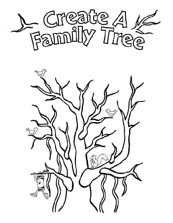 Раскраска Создай семейное древо Скачать Семья, родители, дети.  Распечатать ,Семейное дерево,