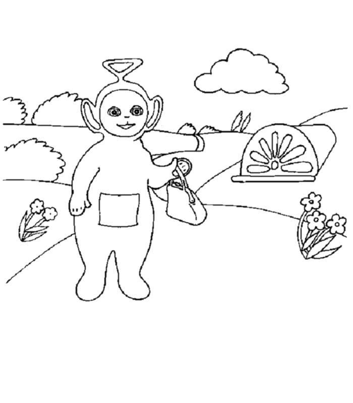 Название: Раскраска Телепузик с сумочкой. Категория: мультфильмы. Теги: мультфильмы, телепузики.