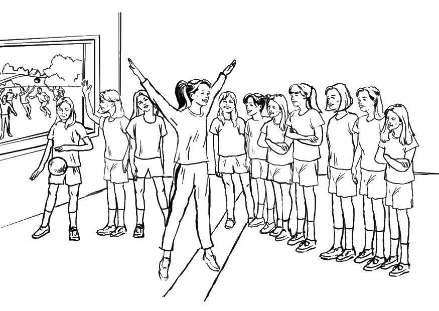 Раскраска Тренировка девочек Скачать Спорт, гимнастика.  Распечатать ,гимнастика,