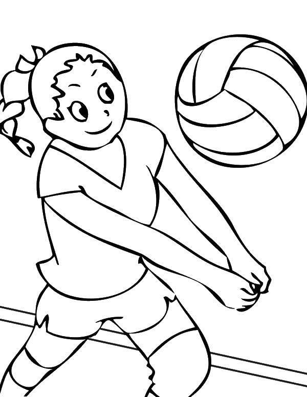 Раскраска Удар руками по мячу Скачать Спорт, гимнастика.  Распечатать ,гимнастика,