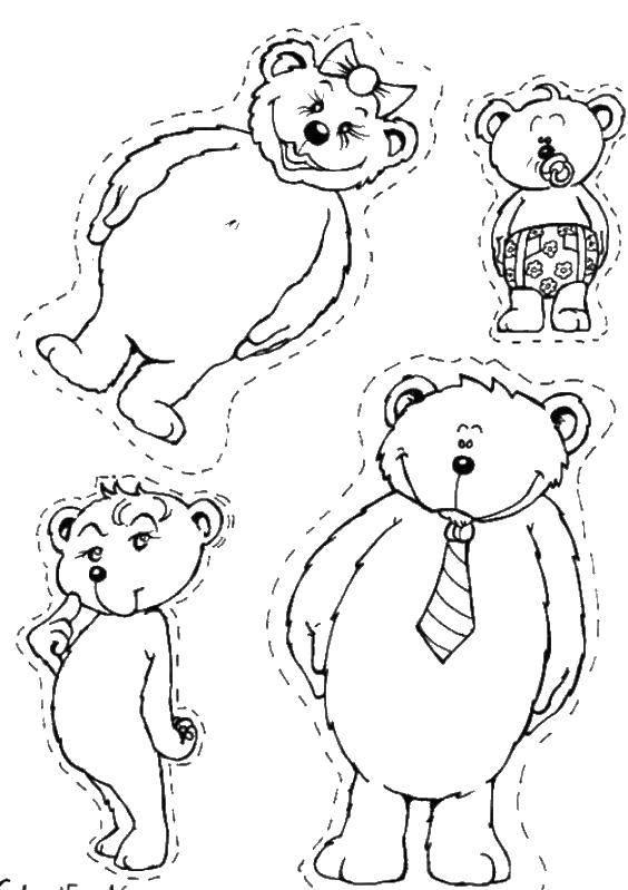 Раскраска Вырежи картинки медведей. Скачать мишки, медведи.  Распечатать ,раскраски,