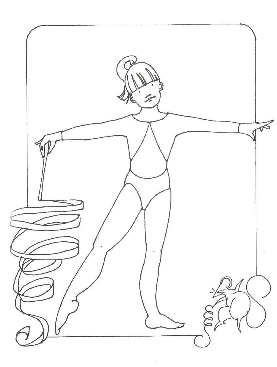 Раскраска Выступление с ленточкой Скачать Спорт, гимнастика.  Распечатать ,гимнастика,