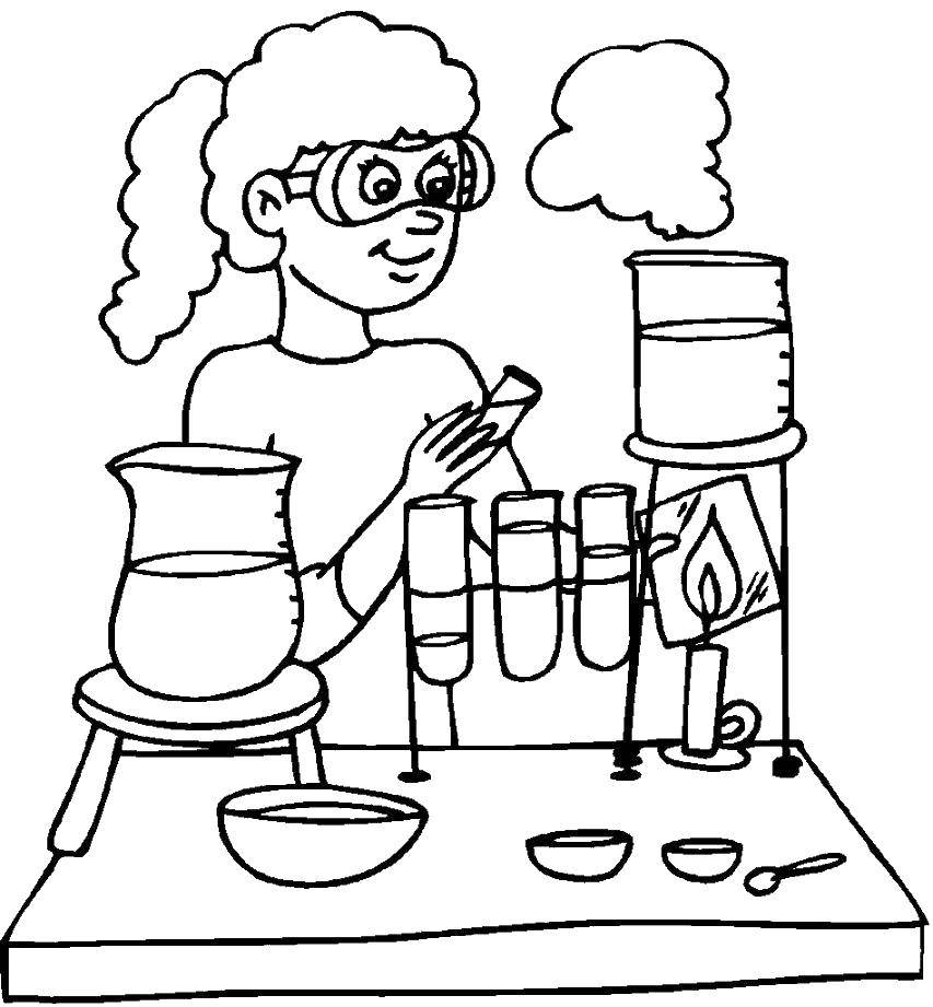 Раскраска Юный испытатель Скачать Наука.  Распечатать ,наука,