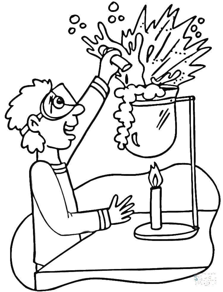 Раскраска Юный ученый Скачать Наука.  Распечатать ,наука,