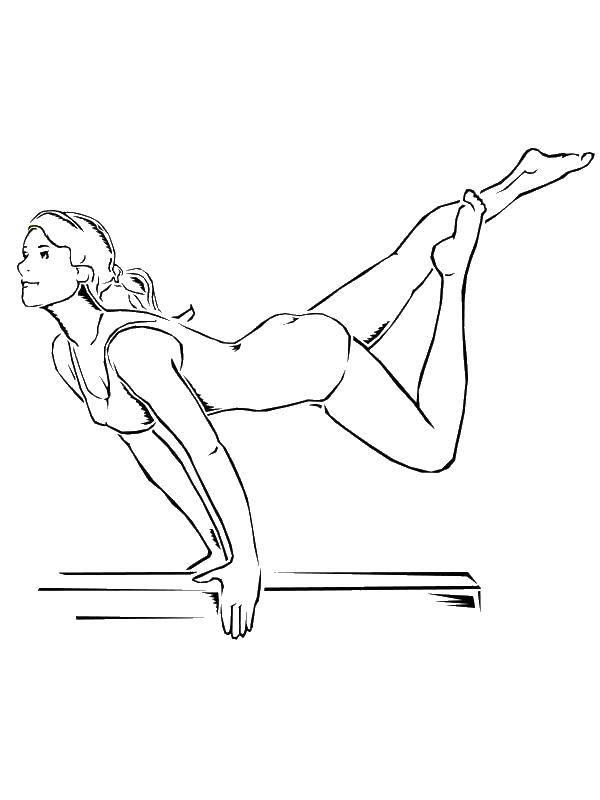 Название: Раскраска Гимнастка показывает номер. Категория: гимнастика. Теги: гимнастика, гимнастка, спорт.