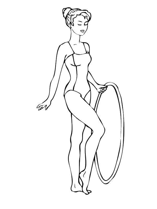 Название: Раскраска Гимнастка танцует с обручем. Категория: гимнастика. Теги: Спорт, гимнастика.