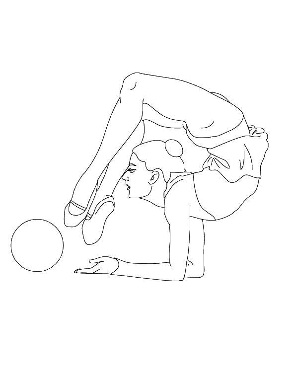 Раскраска гимнастика Скачать ,спорт, гимнастика, гимнастка, мяч,.  Распечатать