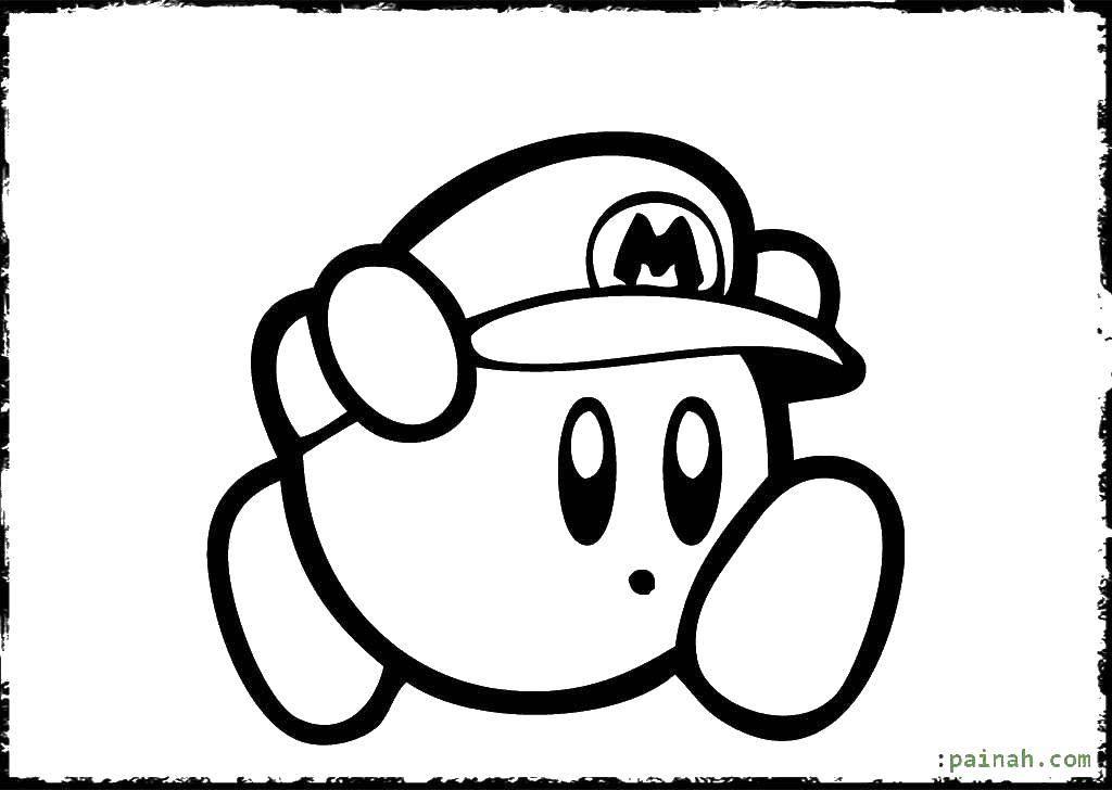 Название: Раскраска Кирби марио. Категория: Кирби. Теги: кирби, мультики, марио.