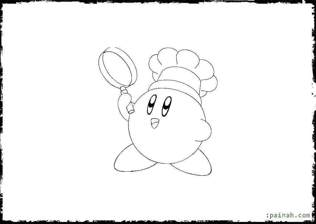 Название: Раскраска Кирби с лупой. Категория: Кирби. Теги: кирби, мультики.