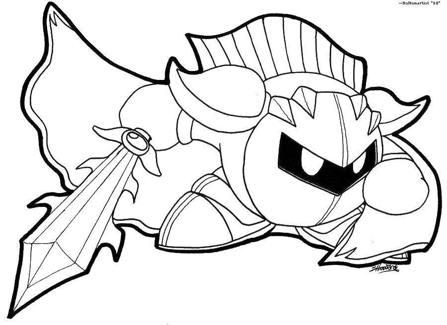 Название: Раскраска Кирби в доспехах. Категория: Кирби. Теги: кирби, мультики.