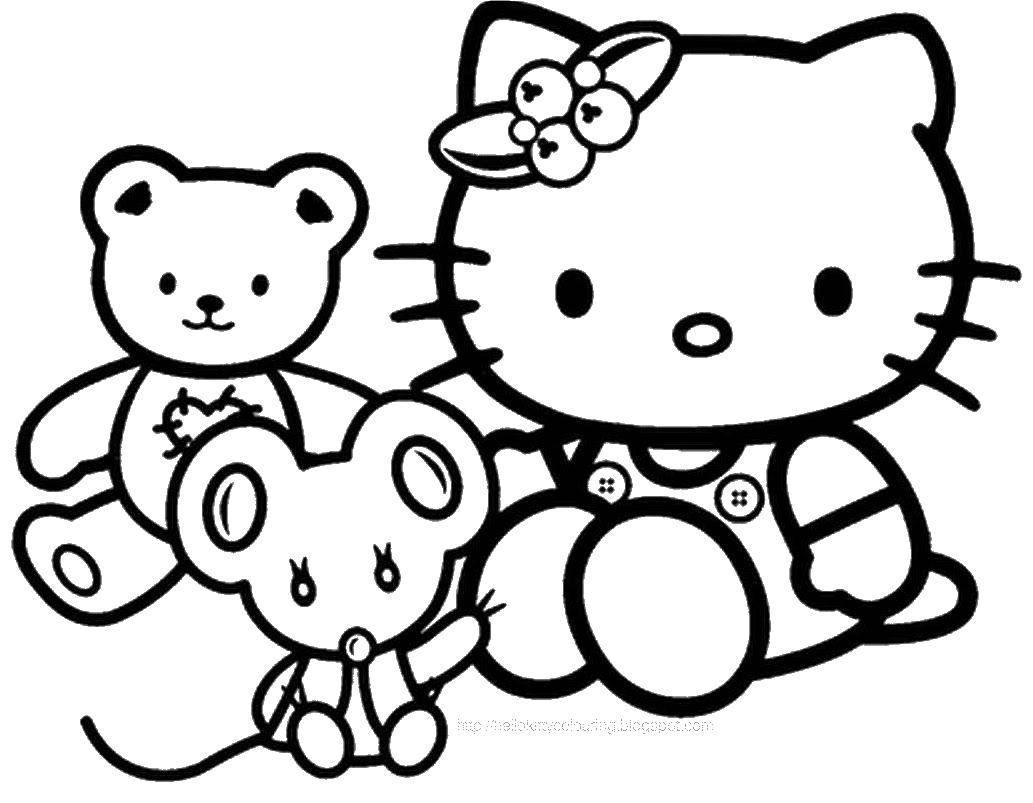 Название: Раскраска Китти с игрушками. Категория: Хэллоу Китти. Теги: Хэллоу Китти.