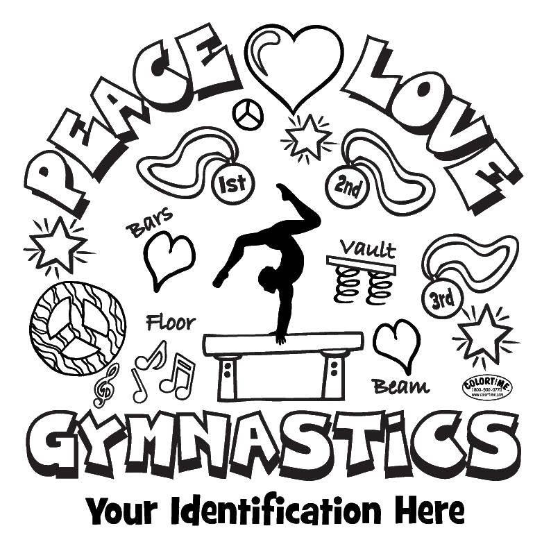 Название: Раскраска Мир, любовь и гимнастика. Категория: гимнастика. Теги: Спорт, гимнастика.