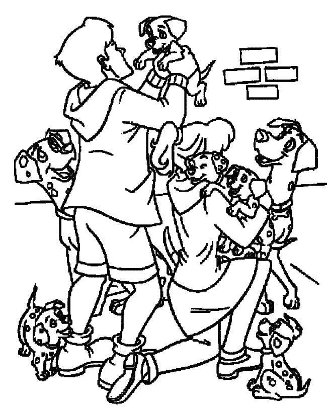 Название: Раскраска Радость далматинцам. Категория: 101 далматинец. Теги: 101 далматинец, Дисней, мультфильм.