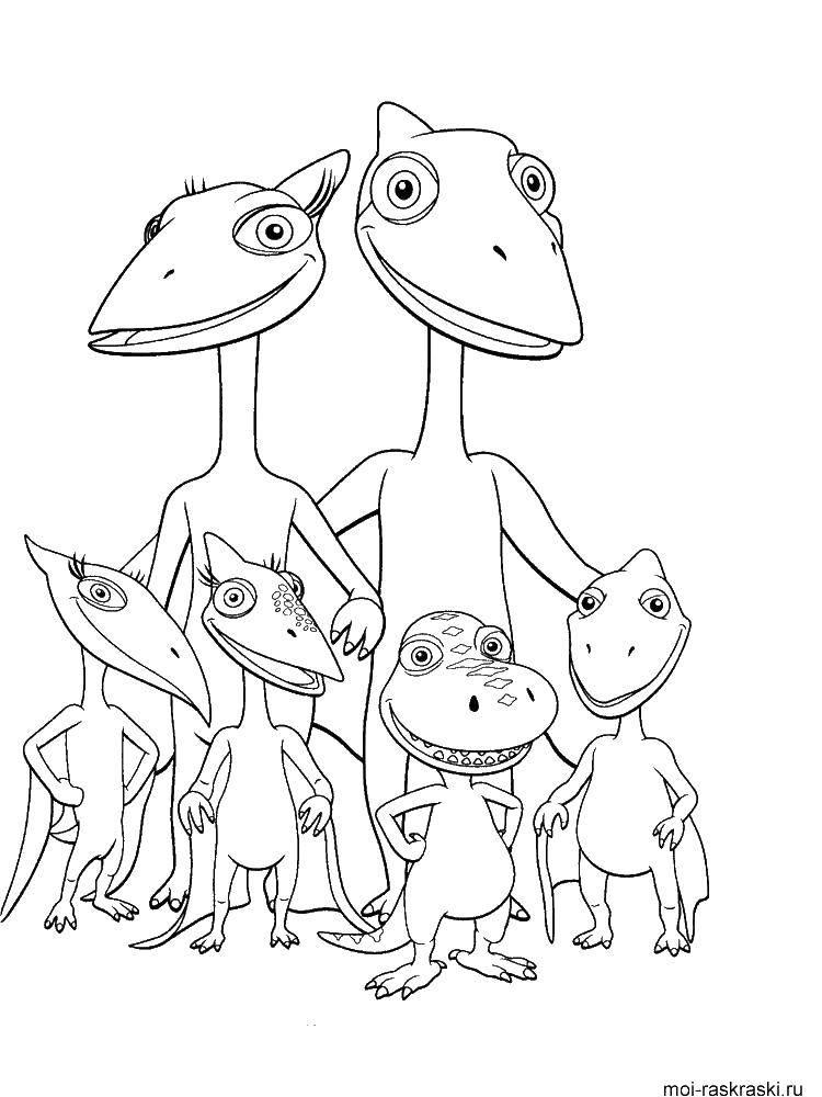 Раскраска Птеродактили Скачать поезд динозавров, птеродактиль.  Распечатать ,Поезд динозавров,