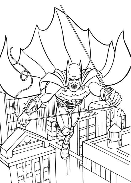 Раскраска Бэтмэн спасает город Скачать Комиксы, БэтМэн.  Распечатать ,Комиксы,